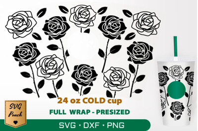 Roses cup wrap SVG