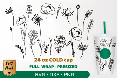Wildflowers cup wrap SVG