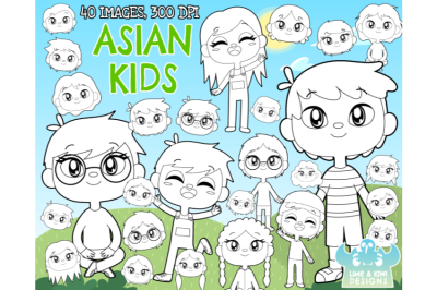 Asian Kids Digital Stamps - Lime and Kiwi Designs