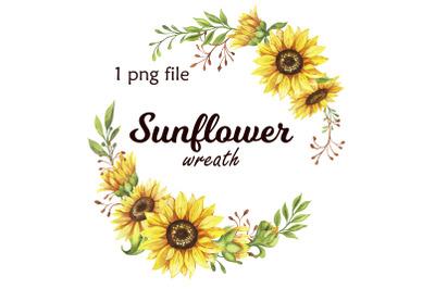 Watercolor Sunflower wreath