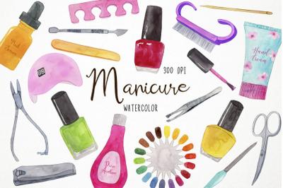 Watercolor Manicure Clipart, Nails Clipart, Pedicure Clipart, Manicure