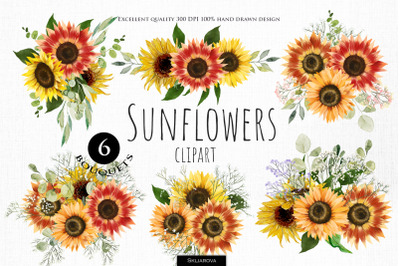 Sunflower Bouquets Clipart, Part 1