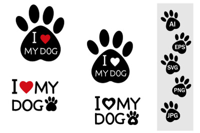 Footprints of SVG black stencil with text