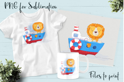 Cute Lion sublimation. Design for printing.