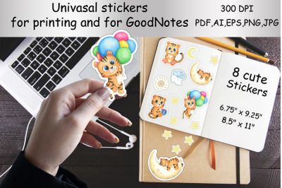 Printable Stickers and for the GoodNotes app.Cute tiger,cat