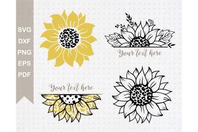 Sunflowers Svg Bundle. Leopard Print Svg