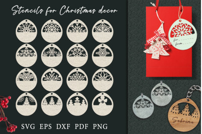 Christmas stencils for tags, key chains, earrings.