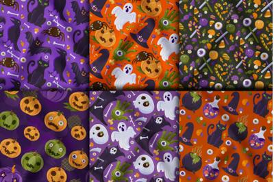 Halloween Cartoon Seamless Patterns