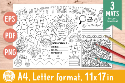 Thanksgiving activity mats