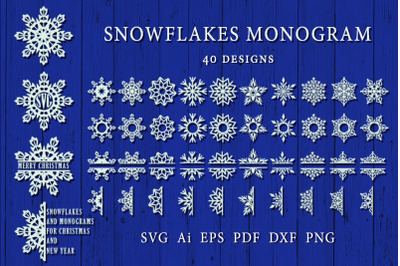 Snowflakes and monograms for Christmas and New Year