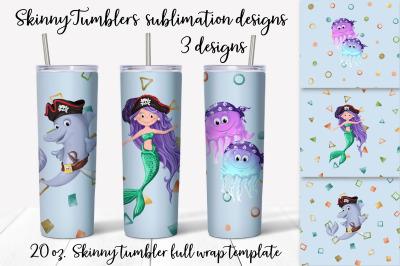 Pirates sublimation design. Skinny tumbler wrap design.