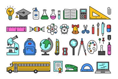 School tools icons