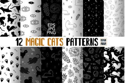 Magic cats vector patterns