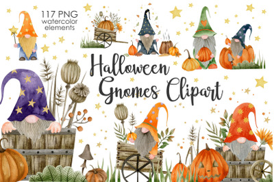 Watercolor Halloween Gnomes Clipart