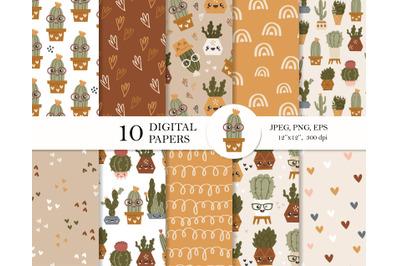 Boho cactus digital paper pack