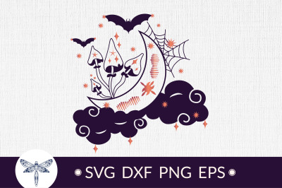 Crescent moon svg with magical mushrooms SVG, Halloween svg
