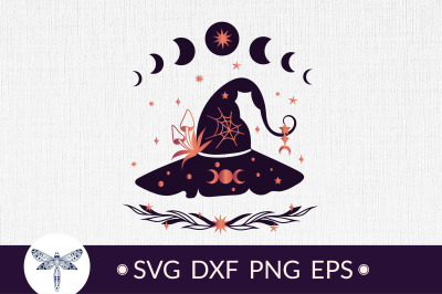 Halloween witches hat SVG with moon phase SVG, Halloween SVG