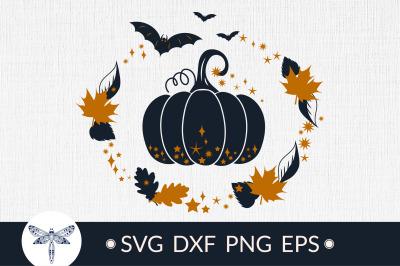 Halloween Pumpkin SVG, fall leaves SVG, Halloween sign SVG