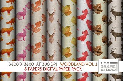 winter woodland watercolor digital pattern pack vol 1, Seamless Pattern Paper Pack, Seamless Pattern