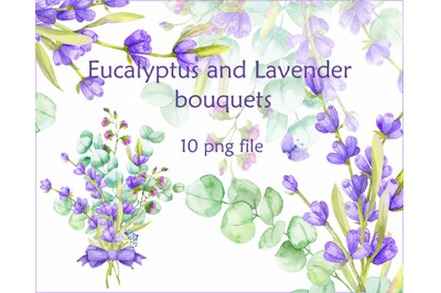 watercolor Eucalyptus and Lavender bouquets
