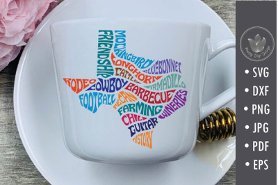 Texas characteristic words svg cut file, Typography in map