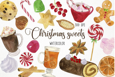 Watercolor Christmas Sweets Clipart, Xmas Sweets Clipart, Christmas