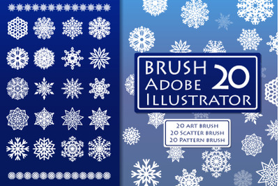 Vector snowflake brushes