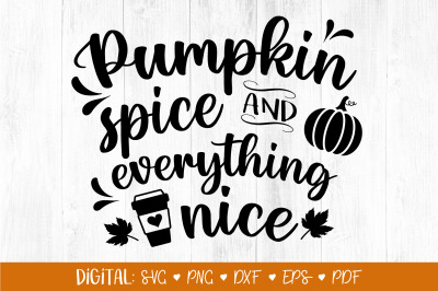 Pumpkin Spice and Everything Nice SVG, Fall Svg, Autumn svg, Fall Clip