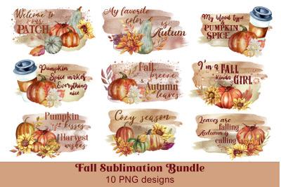 Fall sublimation Bundle Autumn Sublimation PNG Quotes bundle
