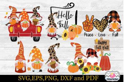 Fall Gnome Bundle SVG, Peace Love Fall SVG, Hello Fall Gnome