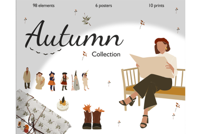 Autumn collection, cozy clapart, abstract women, children in vector