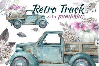 Truck with  Pumpkin, Pastel pumpkins watercplor clipart Halloween, Vin