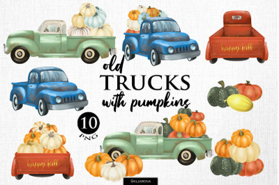 Old trucks with pumpkins