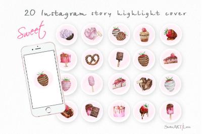 Instagram highlight sweet treats icons