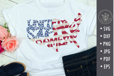 United States of America sublimation file, Typography design with flag