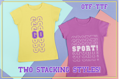 Sports Stacked Mirror Font With Two Stacking Styles