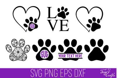 Dog Paw Print SVG Cut Files Pack
