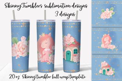 Cute Pony sublimation design. Skinny tumbler wrap design.