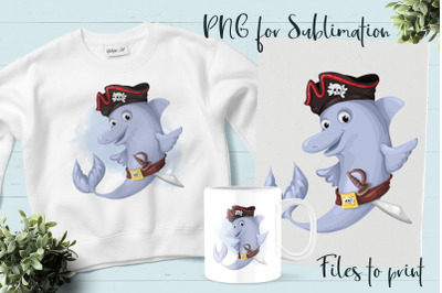 Pirate dolphin sublimation. Design for printing.