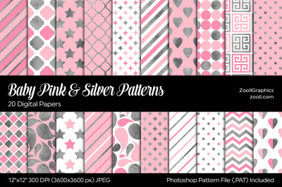 Baby Pink & Silver Digital Papers