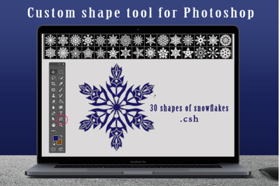 Snowflake shapes for Photoshop