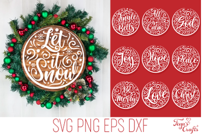 Round Christmas Ornaments SVG Files Pack