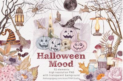 Halloween Clipart Spooky Pumpkins & Fall Flowers