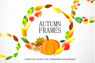 Autumn frames, fall Leaves wreath digital watercolor
