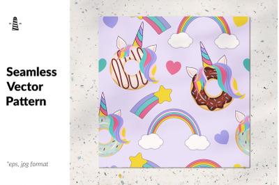 Unicorn donut seamless pattern
