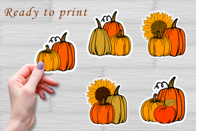 Pumpkin stickers set, autumn clipart PNG, JPG. Ready to cut.