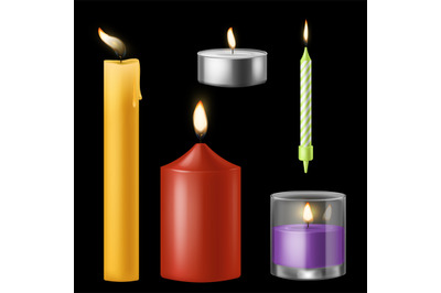 Candle realistic. Church and birthday, aroma and red romantic burning