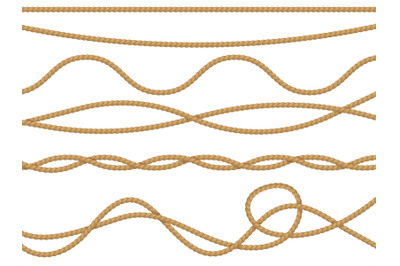 Fiber ropes realistic. Curve nautical rope seamless pattern, cord stra