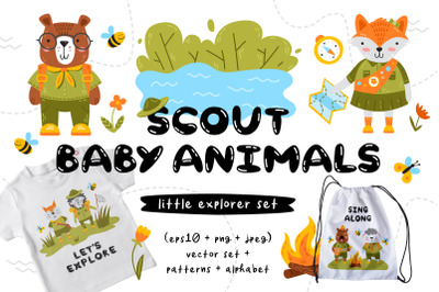 Scout Baby Animals. Clipart&Patterns