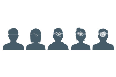 Gossips. Black silhouettes of people in row with lines in heads, infor